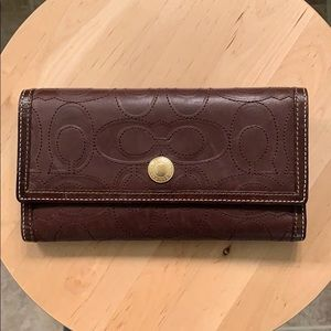 Coach trifold wallet with checkbook holder